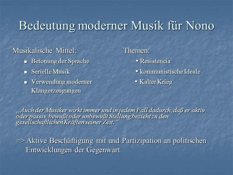 Quellen http://de.wikipedia.org/wiki/Luigi_Nono http://www.karadar.com/Worterbuch/nono.html http://saitenweise.tripod.com/3_98_6.HTM Luigi Nono, Jürgen Stenzl; Rowohlt Taschenbuch Verlag, 1998, Hamburg http://www.sterneck.net/cybertribe/musik/luigi-nono/index.php http://www.berliner-philharmoniker.de/programmheft.html?articleid=346 http://www.wissen.de/xt/default.do?MENUNAME=Suche&SEARCHTYPE=topic &query=luigi+nono Google Bildersuche Luigi Nono am 08.03.05