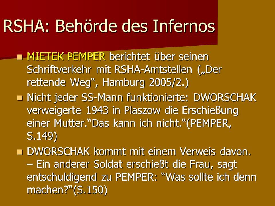 RSHA: Behörde des Infernos MIETEK PEMPER berichtet über seinen Schriftverkehr mit RSHA-Amtstellen (Der rettende Weg, Hamburg 2005/2.) MIETEK PEMPER be