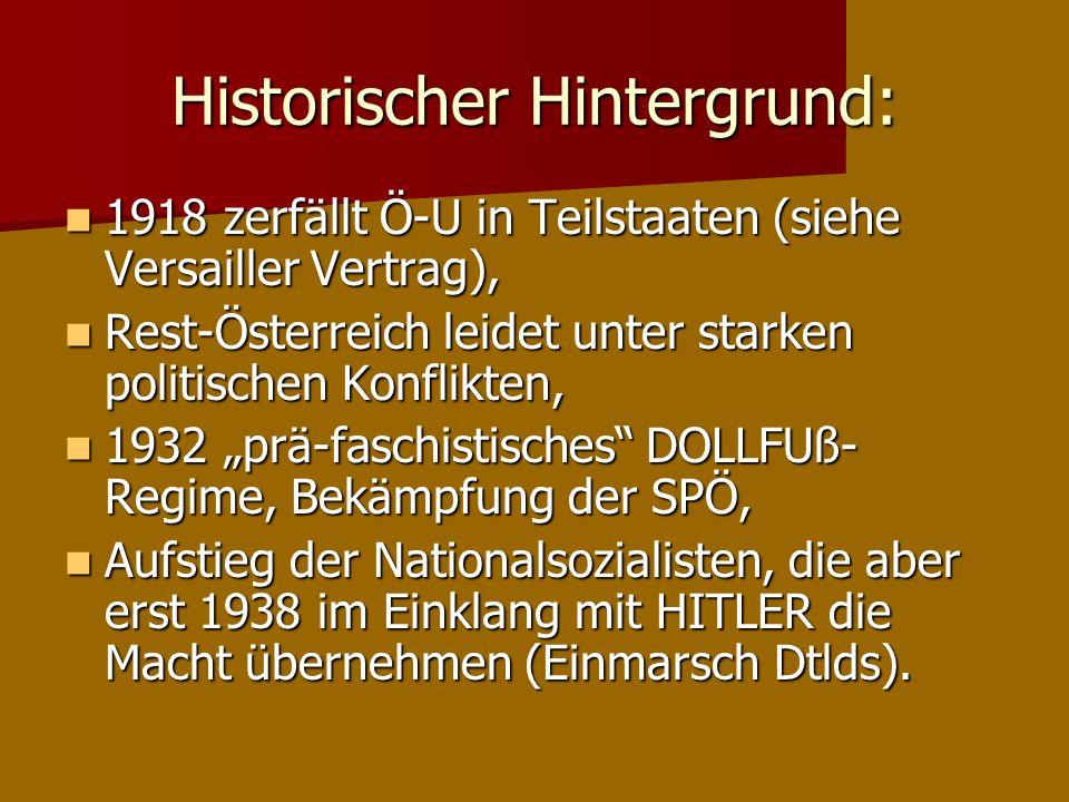 Historischer Hintergrund: 1918 zerfällt Ö-U in Teilstaaten (siehe Versailler Vertrag), 1918 zerfällt Ö-U in Teilstaaten (siehe Versailler Vertrag), Re