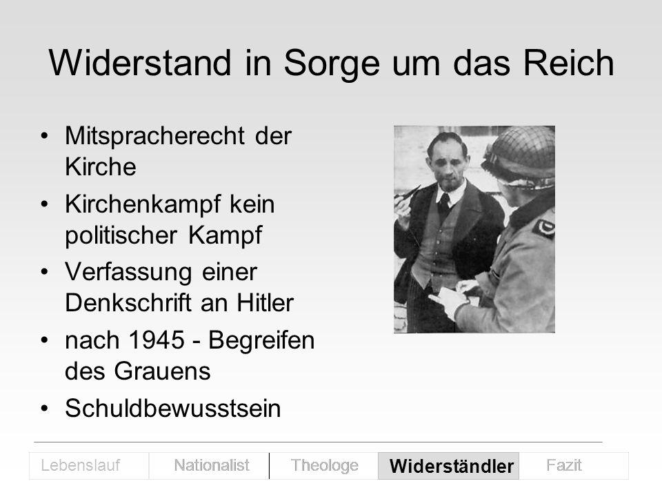 Widerstand in Sorge um das Reich Mitspracherecht der Kirche Kirchenkampf kein politischer Kampf Verfassung einer Denkschrift an Hitler nach 1945 - Beg