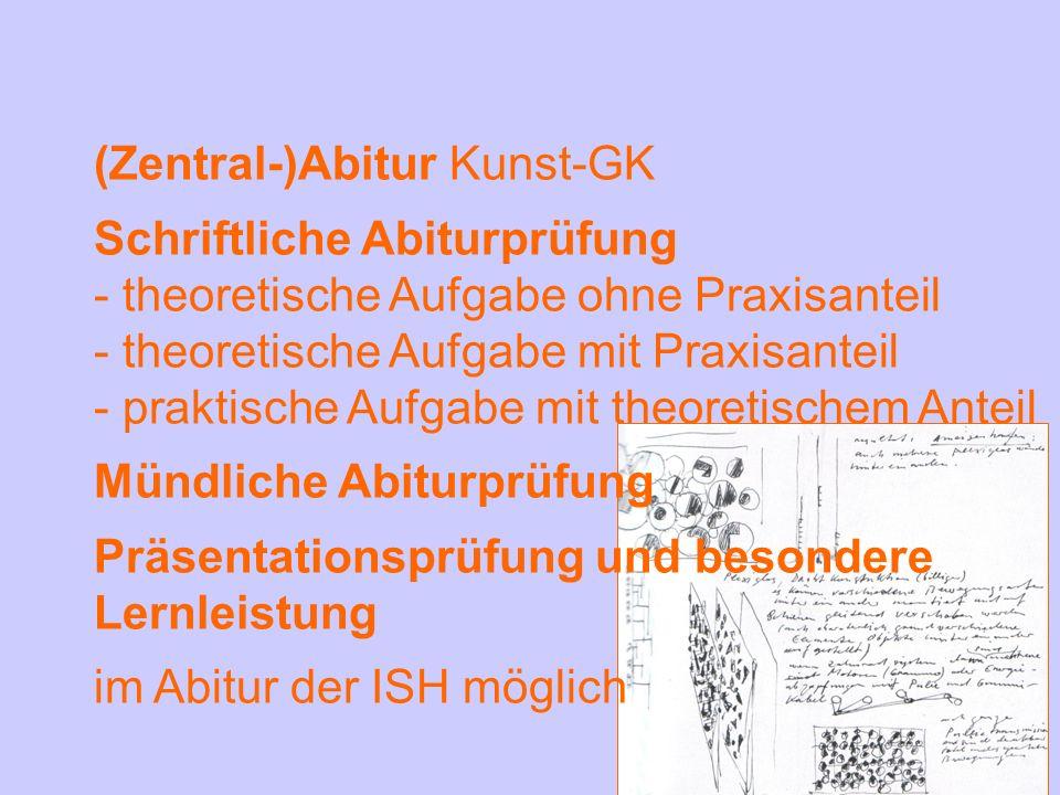 (Zentral-)Abitur Kunst-GK Schriftliche Abiturprüfung - theoretische Aufgabe ohne Praxisanteil - theoretische Aufgabe mit Praxisanteil - praktische Auf