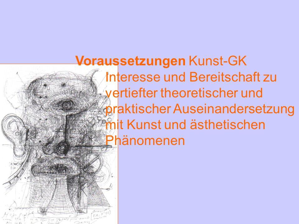 Voraussetzungen Kunst-GK Interesse und Bereitschaft zu vertiefter theoretischer und praktischer Auseinandersetzung mit Kunst und ästhetischen Phänomen