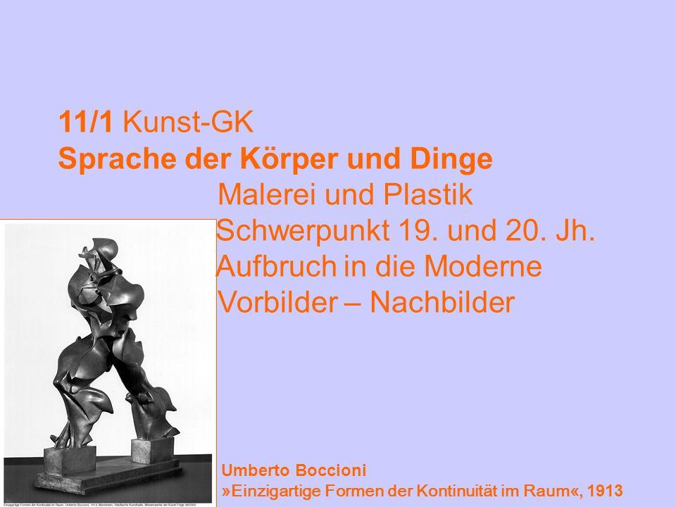 11/1 Kunst-GK Sprache der Körper und Dinge Malerei und Plastik Schwerpunkt 19. und 20. Jh. Aufbruch in die Moderne Vorbilder – Nachbilder Umberto Bocc