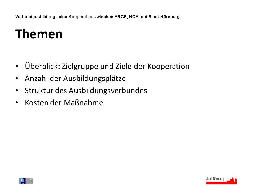 Verbundausbildung - eine Kooperation zwischen ARGE, NOA und Stadt Nürnberg Themen Überblick: Zielgruppe und Ziele der Kooperation Anzahl der Ausbildun