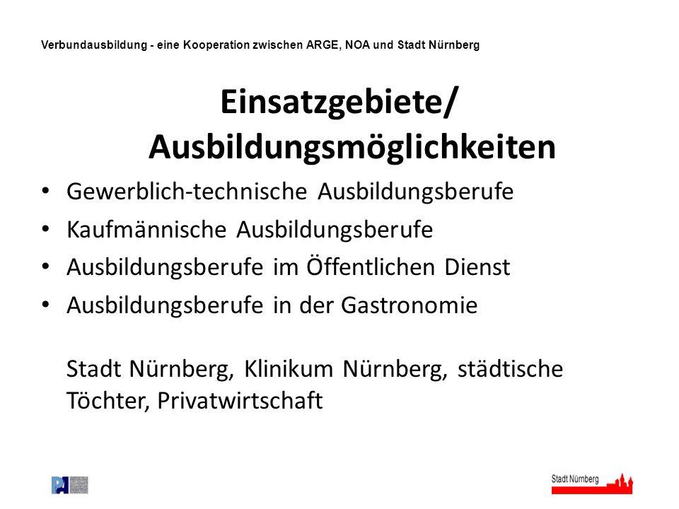 Verbundausbildung - eine Kooperation zwischen ARGE, NOA und Stadt Nürnberg Einsatzgebiete/ Ausbildungsmöglichkeiten Gewerblich-technische Ausbildungsb