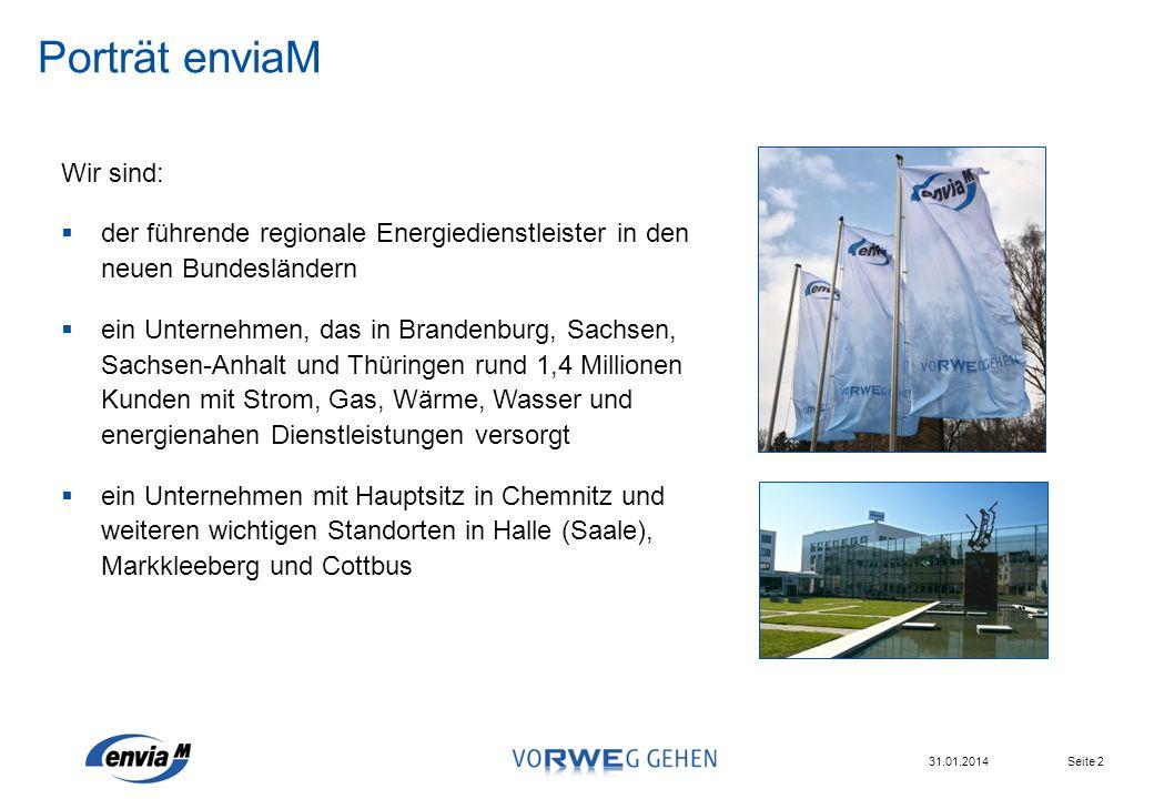Seite 2 31.01.2014 Wir sind: der führende regionale Energiedienstleister in den neuen Bundesländern ein Unternehmen, das in Brandenburg, Sachsen, Sach