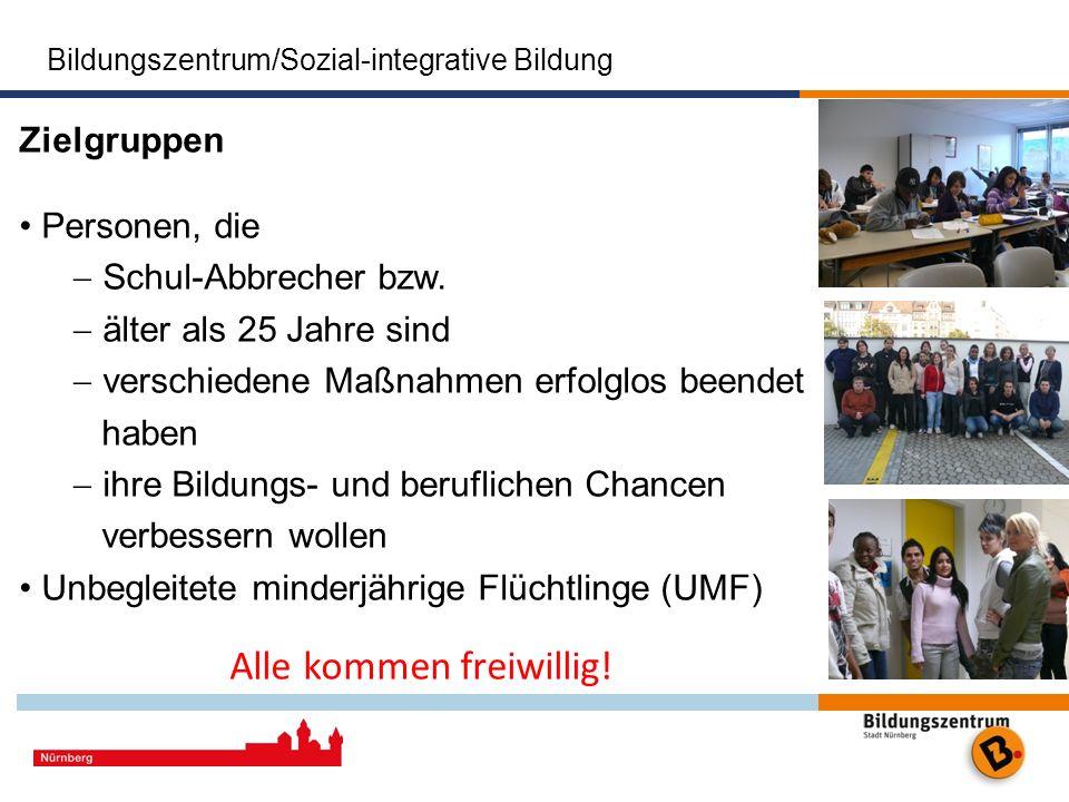Bildungszentrum/Sozial-integrative Bildung Das Bildungszentrum der Stadt Nürnberg Stadt Nürnberg Zielgruppen Personen, die Schul-Abbrecher bzw. älter