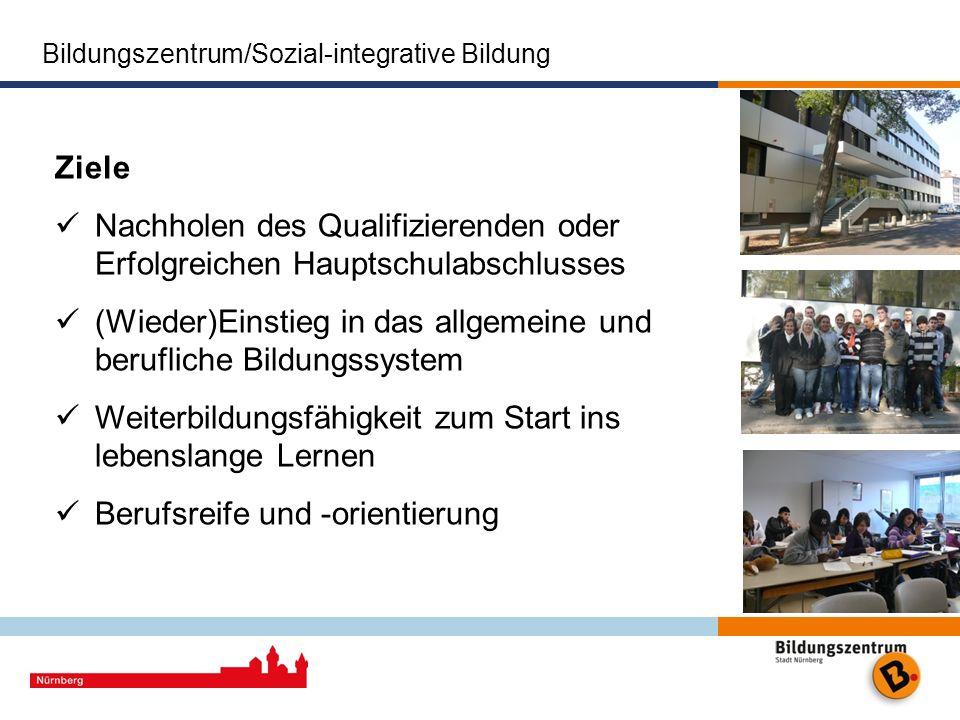 Bildungszentrum/Sozial-integrative Bildung Ziele Nachholen des Qualifizierenden oder Erfolgreichen Hauptschulabschlusses (Wieder)Einstieg in das allge