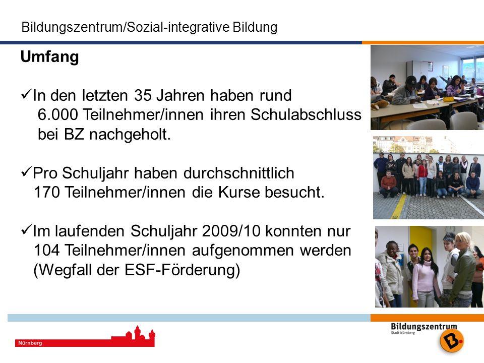 Bildungszentrum/Sozial-integrative Bildung Das Bildungszentrum der Stadt Nürnberg Stadt Nürnberg Umfang In den letzten 35 Jahren haben rund 6.000 Teil