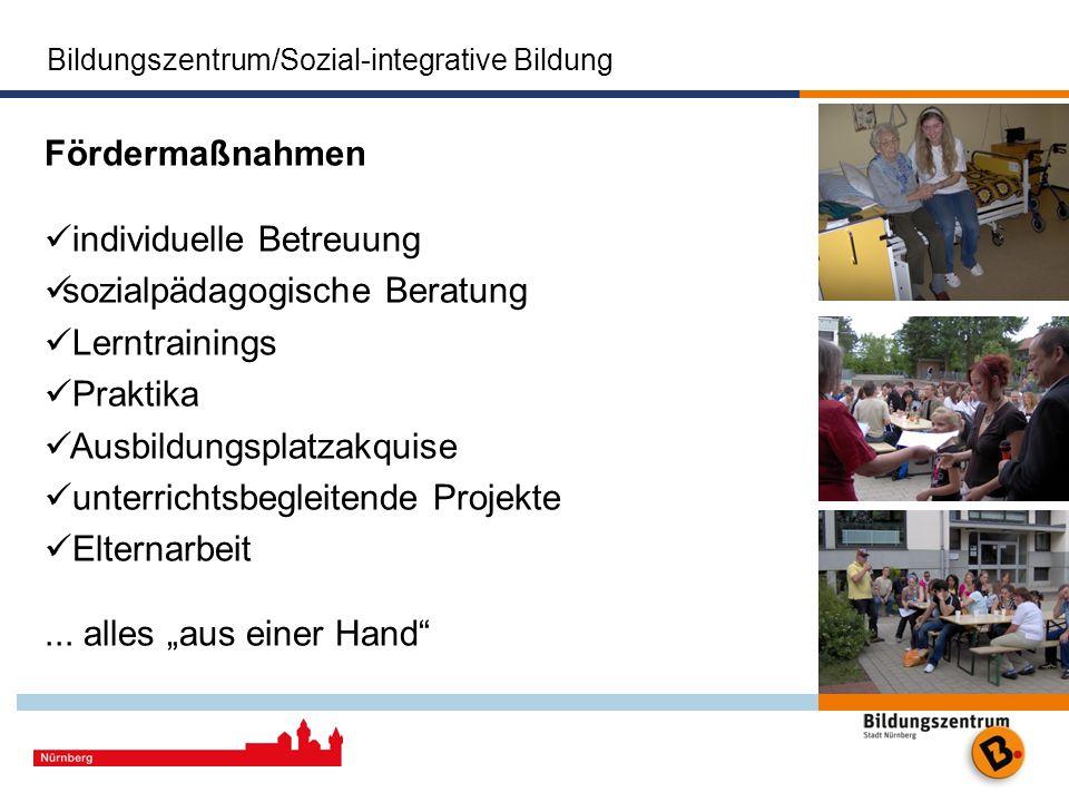 Bildungszentrum/Sozial-integrative Bildung Das Bildungszentrum der Stadt Nürnberg Stadt Nürnberg Fördermaßnahmen individuelle Betreuung sozialpädagogi