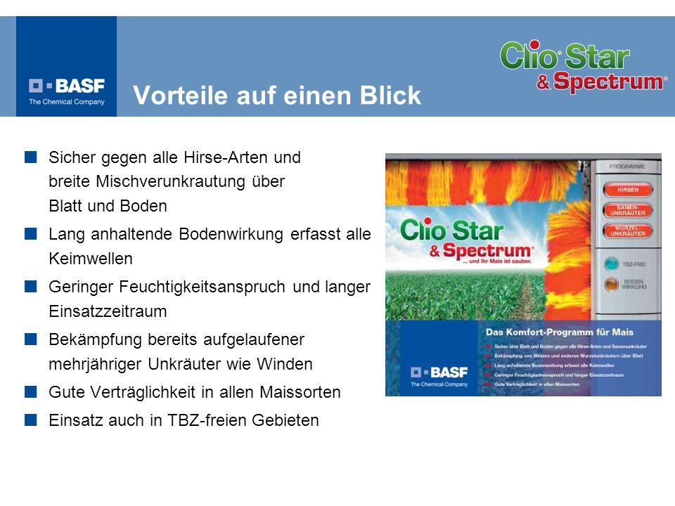 Wirkstoffe Clio ® Star: 50 g/l Topramezone + 160 g/l Dicamba Spectrum ® : 720 g/l Dimethenamid-P Formulierung Wässrige Lösung (SL) + Emulsionskonzentrat (EC) Aufwandmenge 1,0 l/ha Clio ® Star + 1,0 l/ha Spectrum ® KulturMais Einsatztermin Nachauflauf, ES 11 - 16 Wasseraufwandmenge200 – 400 l/ha IndikationBekämpfung aller Hirsen und Unkräuter über Blatt und Boden und aufgelaufene Wurzelunkräuter und Knöterich-Arten in Mais im Nachauflauf-Verfahren Produktprofil