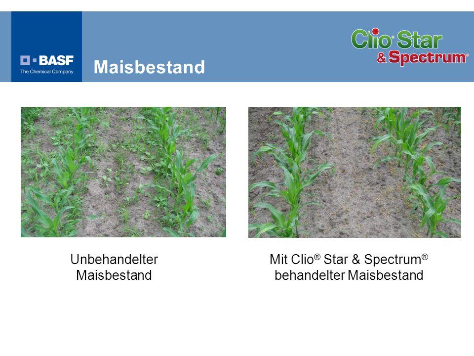 % Wirkung Samen- und Wurzelunkräuter Wirkung in Mais ES 12–16 4 Versuche 2005 BASF, D und AT