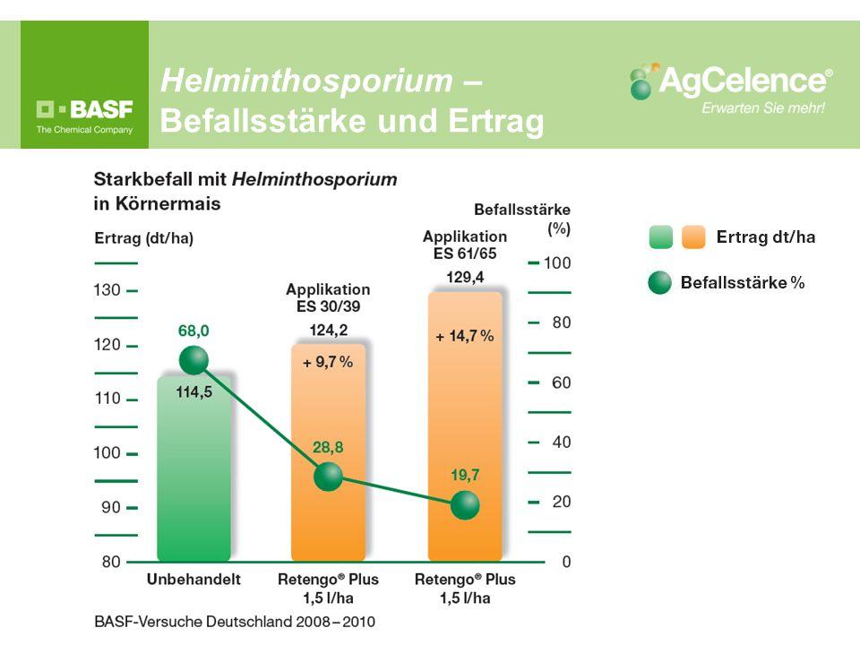 Helminthosporium – Befallsstärke und Ertrag