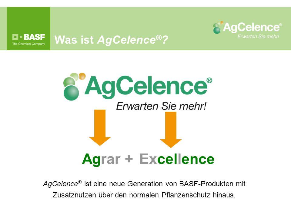 AgCelence ® ist eine neue Generation von BASF-Produkten mit Zusatznutzen über den normalen Pflanzenschutz hinaus.