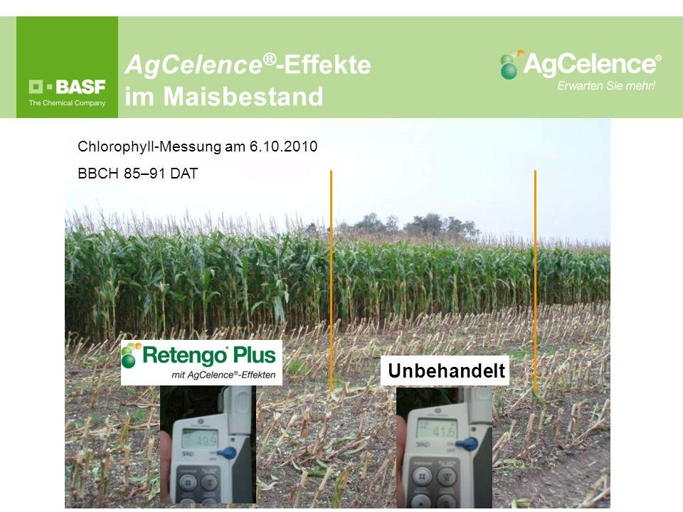 AgCelence ® -Effekte im Maisbestand Chlorophyll-Messung am 6.10.2010 BBCH 85–91 DAT Unbehandelt