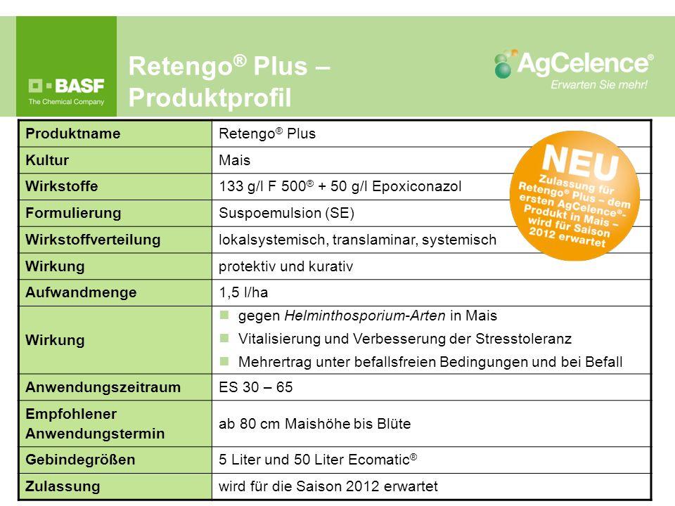 Retengo ® Plus – Produktprofil Produktname Retengo ® Plus Kultur Mais Wirkstoffe 133 g/l F 500 ® + 50 g/l Epoxiconazol Formulierung Suspoemulsion (SE)
