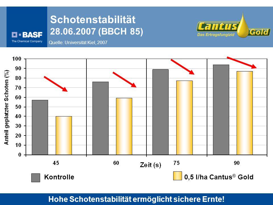 Schotenstabilität 28.06.2007 (BBCH 85) Kontrolle0,5 l/ha Cantus ® Gold Quelle: Universität Kiel, 2007 Hohe Schotenstabilität ermöglicht sichere Ernte!