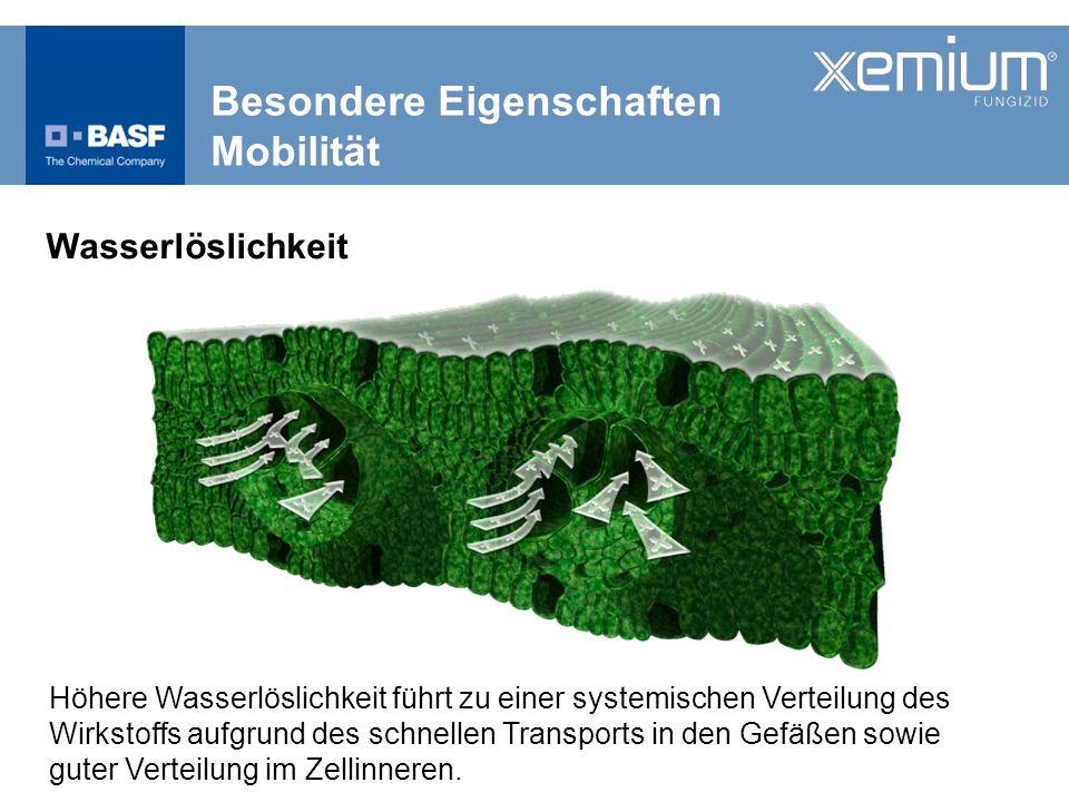 Besondere Eigenschaften Mobilität Weizenblätter, die nach der Applikation mit Braunrost inokuliert wurden Systemische Verteilung von Xemium ® führt zu einem Schutz nicht direkt getroffener Pflanzenteile
