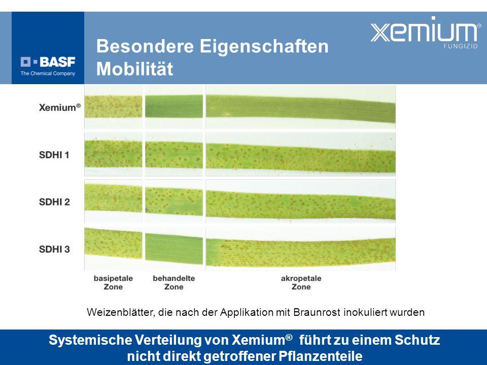 Besondere Eigenschaften Mobilität Weizenblätter, die nach der Applikation mit Braunrost inokuliert wurden Systemische Verteilung von Xemium ® führt zu