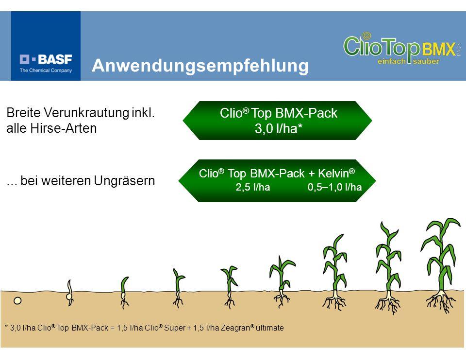 * 3,0 l/ha Clio ® Top BMX-Pack = 1,5 l/ha Clio ® Super + 1,5 l/ha Zeagran ® ultimate... bei weiteren Ungräsern Breite Verunkrautung inkl. alle Hirse-A