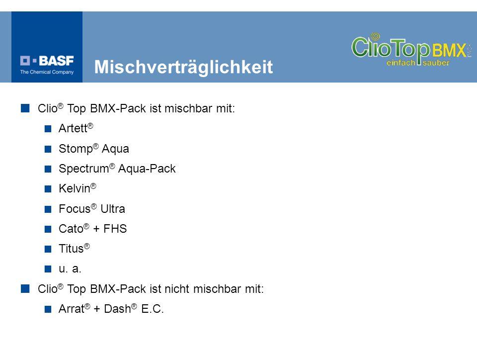 Clio ® Top BMX-Pack ist mischbar mit: Artett ® Stomp ® Aqua Spectrum ® Aqua-Pack Kelvin ® Focus ® Ultra Cato ® + FHS Titus ® u. a. Clio ® Top BMX-Pack