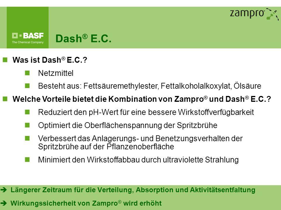 11 Dash ® E.C. Was ist Dash ® E.C.? Netzmittel Besteht aus: Fettsäuremethylester, Fettalkoholalkoxylat, Ölsäure Welche Vorteile bietet die Kombination