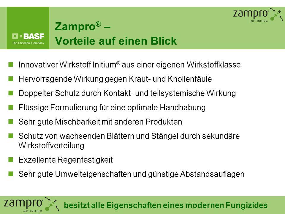20 Zampro ® – Vorteile auf einen Blick Innovativer Wirkstoff Initium ® aus einer eigenen Wirkstoffklasse Hervorragende Wirkung gegen Kraut- und Knolle