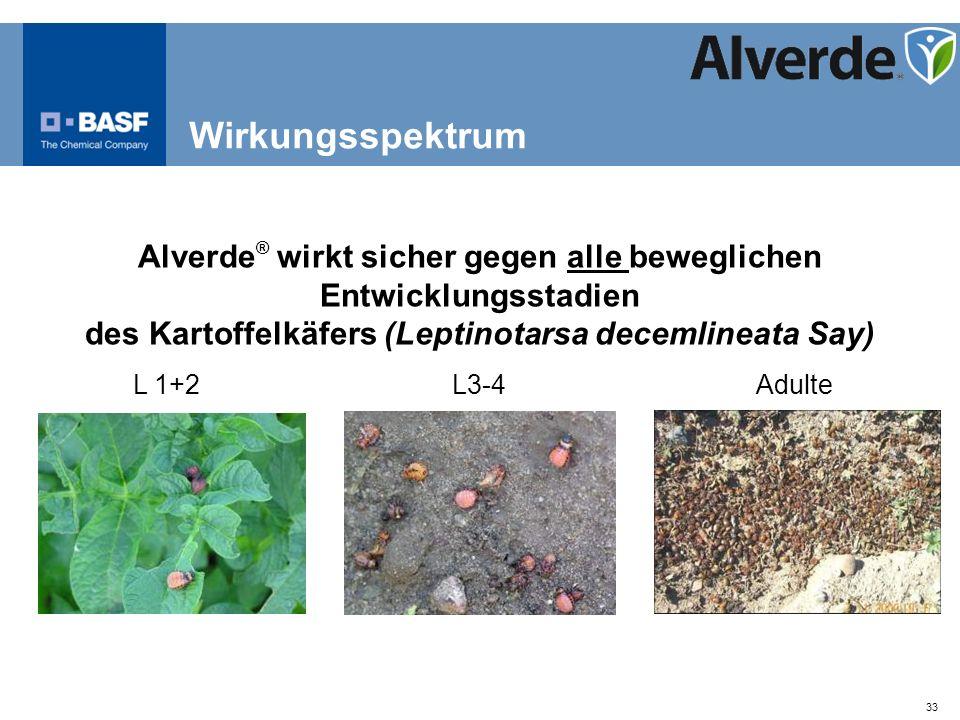 33 Alverde ® wirkt sicher gegen alle beweglichen Entwicklungsstadien des Kartoffelkäfers (Leptinotarsa decemlineata Say) L 1+2L3-4Adulte Wirkungsspekt