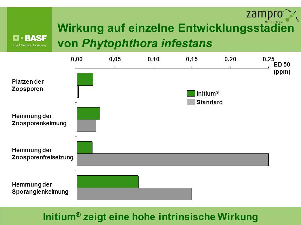 5 Wirkung auf einzelne Entwicklungsstadien von Phytophthora infestans 0,200,25 ED 50 (ppm) 0,050,100,15 Platzen der ZoosporenPlatzen der ZoosporenPlat