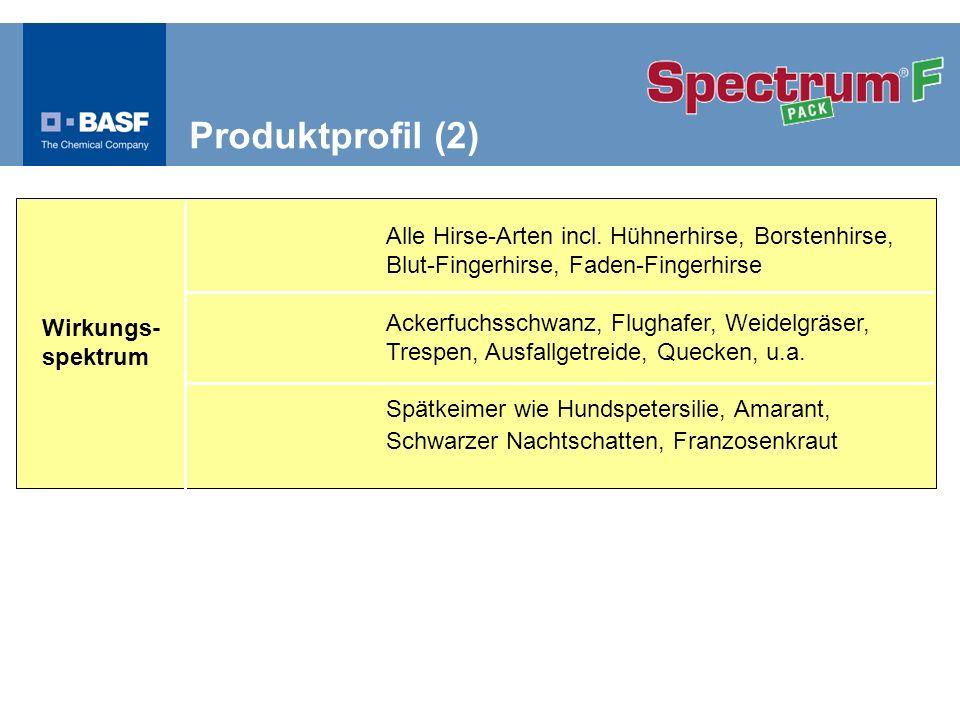 Schwerpunktempfehlungen zur Unkrautbekämpfung in W-Gebieten Windenknöterich, Hundspetersilie und Hirsen-Standorte Spectrum ® 0,3 l/ha Spectrum ® 0,6 l/ha Depotwirkung Entwicklungsstadium nach BBCH 00 09-10 10-11 12 16 2.