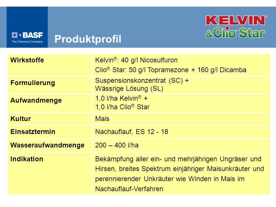 Wirkstoffe Kelvin ® : 40 g/l Nicosulfuron Clio ® Star: 50 g/l Topramezone + 160 g/l Dicamba Formulierung Suspensionskonzentrat (SC) + Wässrige Lösung