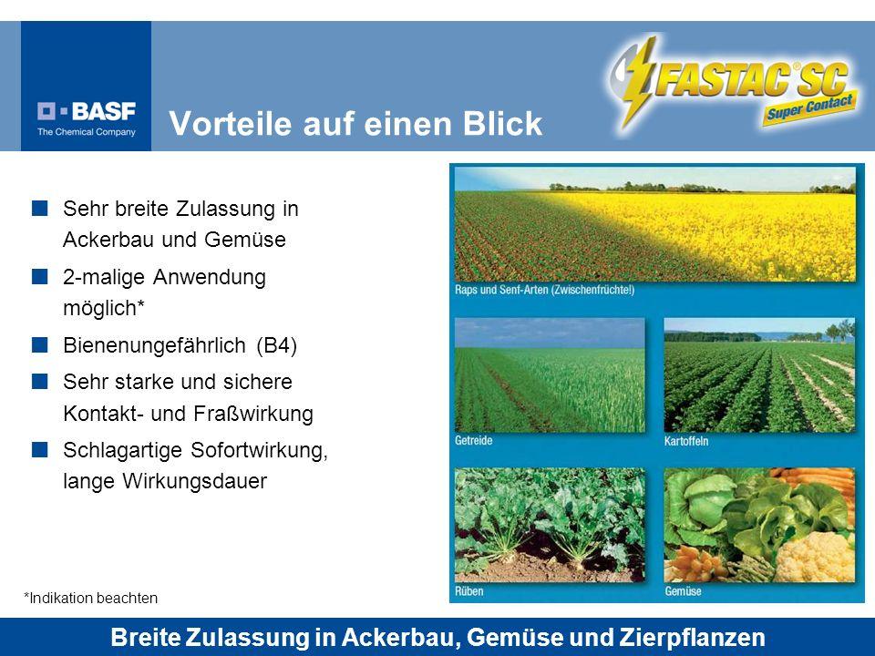 Sehr breite Zulassung in Ackerbau und Gemüse 2-malige Anwendung möglich* Bienenungefährlich (B4) Sehr starke und sichere Kontakt- und Fraßwirkung Schl
