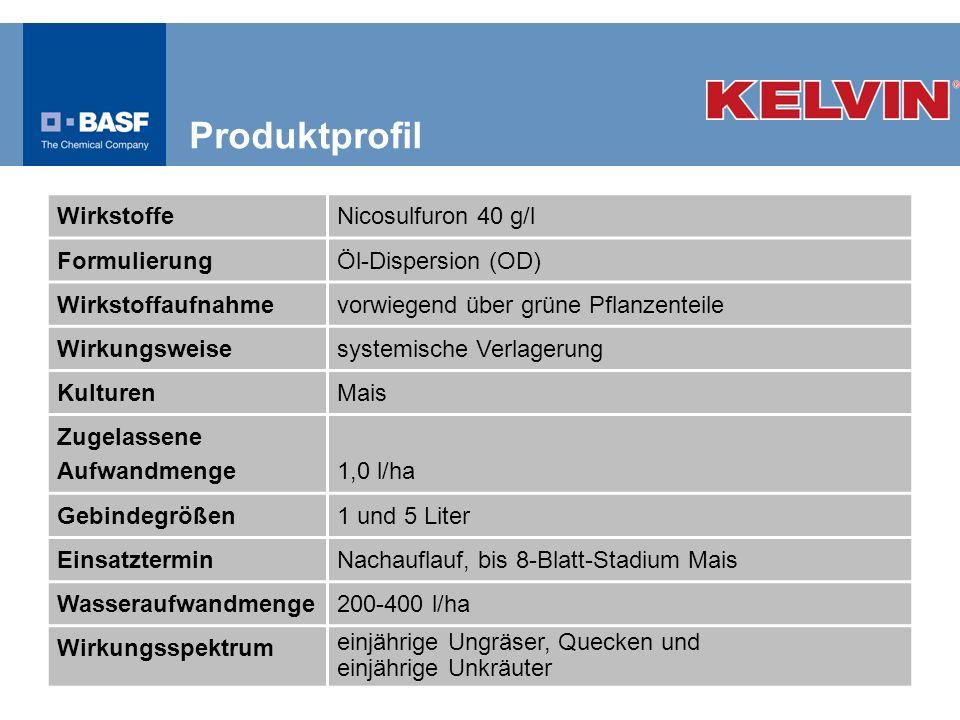 WirkstoffeNicosulfuron 40 g/l FormulierungÖl-Dispersion (OD) Wirkstoffaufnahmevorwiegend über grüne Pflanzenteile Wirkungsweisesystemische Verlagerung