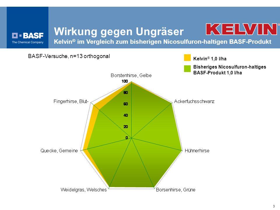 3 Wirkung gegen Ungräser Kelvin ® im Vergleich zum bisherigen Nicosulfuron-haltigen BASF-Produkt BASF-Versuche, n=13 orthogonal Wirkung (%) Kelvin ® 1