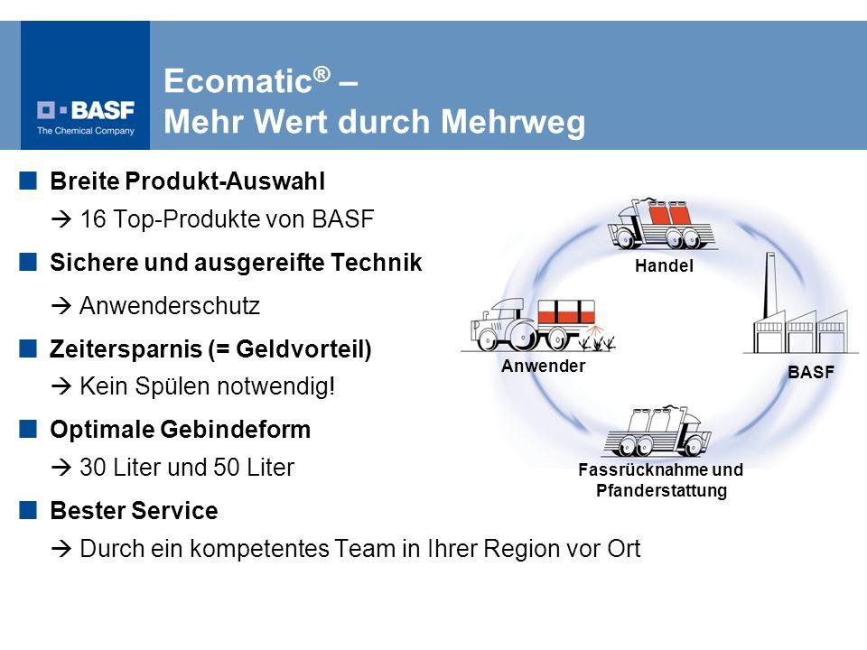 Handel Anwender Fassrücknahme und Pfanderstattung BASF Breite Produkt-Auswahl 16 Top-Produkte von BASF Sichere und ausgereifte Technik Anwenderschutz
