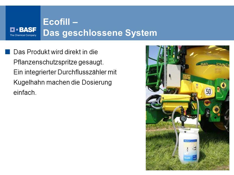 Ecofill – Das geschlossene System Das Produkt wird direkt in die Pflanzenschutzspritze gesaugt. Ein integrierter Durchflusszähler mit Kugelhahn machen
