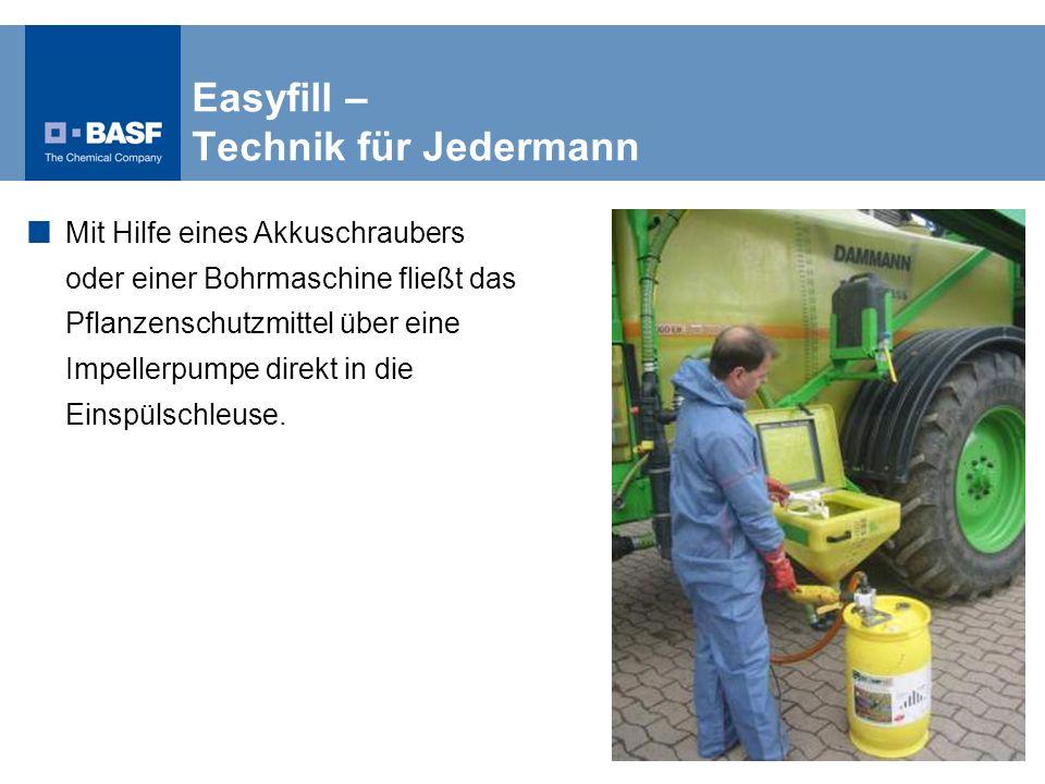 Easyfill – Technik für Jedermann Mit Hilfe eines Akkuschraubers oder einer Bohrmaschine fließt das Pflanzenschutzmittel über eine Impellerpumpe direkt