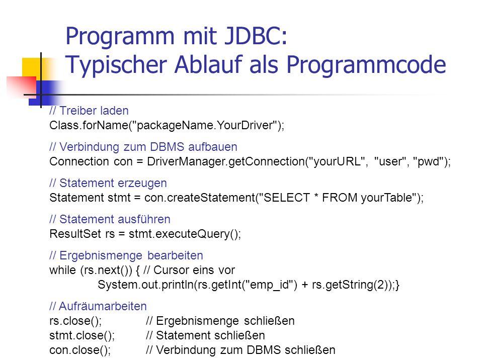 Programm mit JDBC: Typischer Ablauf als Programmcode // Treiber laden Class.forName(
