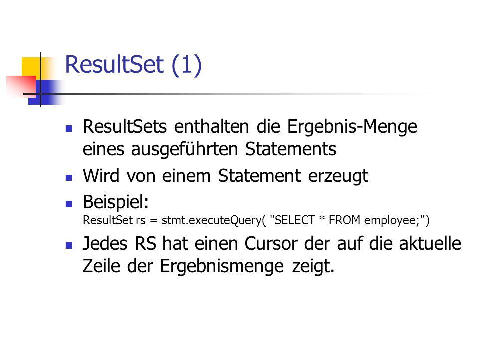 ResultSet (1) ResultSets enthalten die Ergebnis-Menge eines ausgeführten Statements Wird von einem Statement erzeugt Beispiel: ResultSet rs = stmt.exe