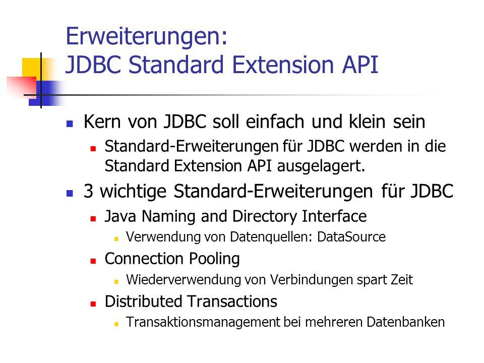 Erweiterungen: JDBC Standard Extension API Kern von JDBC soll einfach und klein sein Standard-Erweiterungen für JDBC werden in die Standard Extension