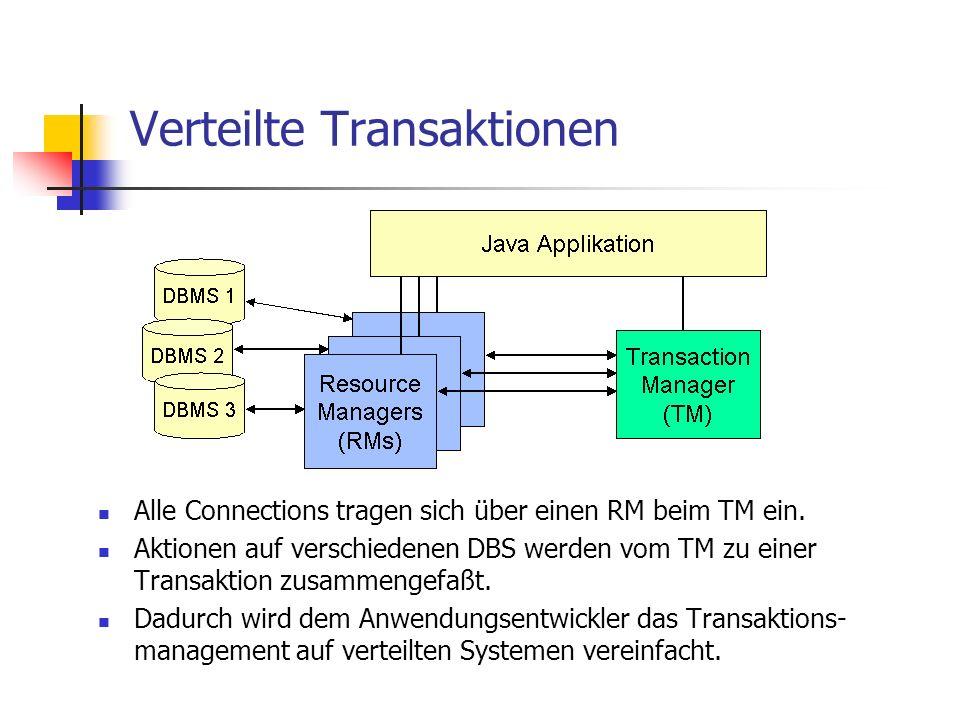 Verteilte Transaktionen Alle Connections tragen sich über einen RM beim TM ein. Aktionen auf verschiedenen DBS werden vom TM zu einer Transaktion zusa