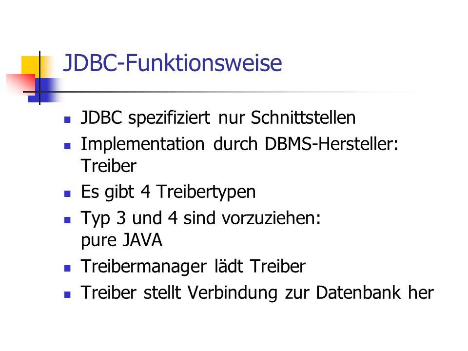 JDBC-Funktionsweise JDBC spezifiziert nur Schnittstellen Implementation durch DBMS-Hersteller: Treiber Es gibt 4 Treibertypen Typ 3 und 4 sind vorzuzi