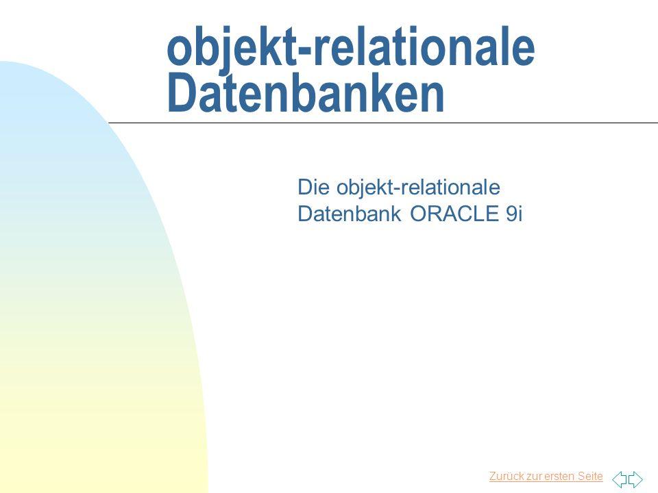 Zurück zur ersten Seite Konzepte von Oracle 9i n relationale Datenbank n objektorientierte Zusätze u können genutzt werden u müssen nicht genutzt werden n objektorientierte Erweiterungen von u Struktur- und Tabellendefinitionen u SQL und PL/SQL