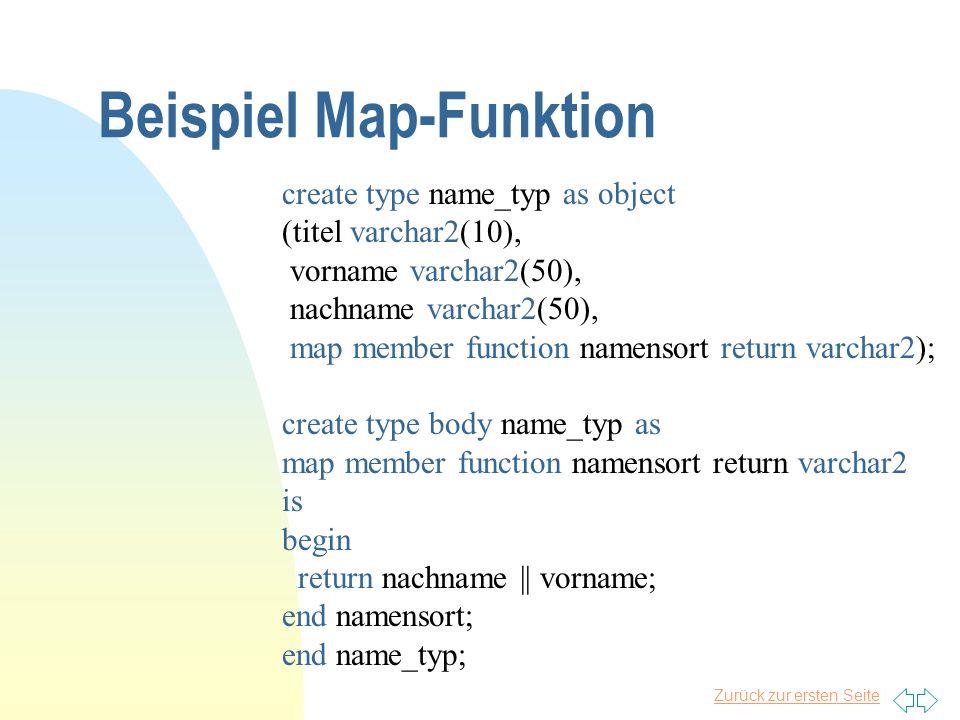 Zurück zur ersten Seite Beispiel Map-Funktion create type name_typ as object (titel varchar2(10), vorname varchar2(50), nachname varchar2(50), map mem