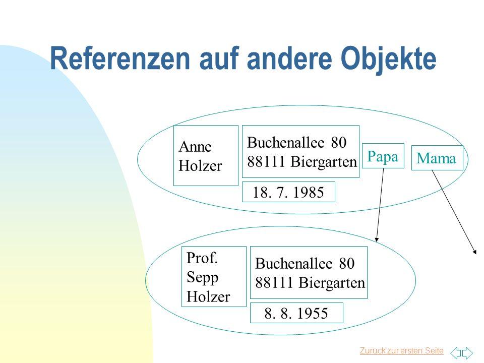 Zurück zur ersten Seite Referenzen auf andere Objekte Anne Holzer Buchenallee 80 88111 Biergarten 18. 7. 1985 Prof. Sepp Holzer Buchenallee 80 88111 B