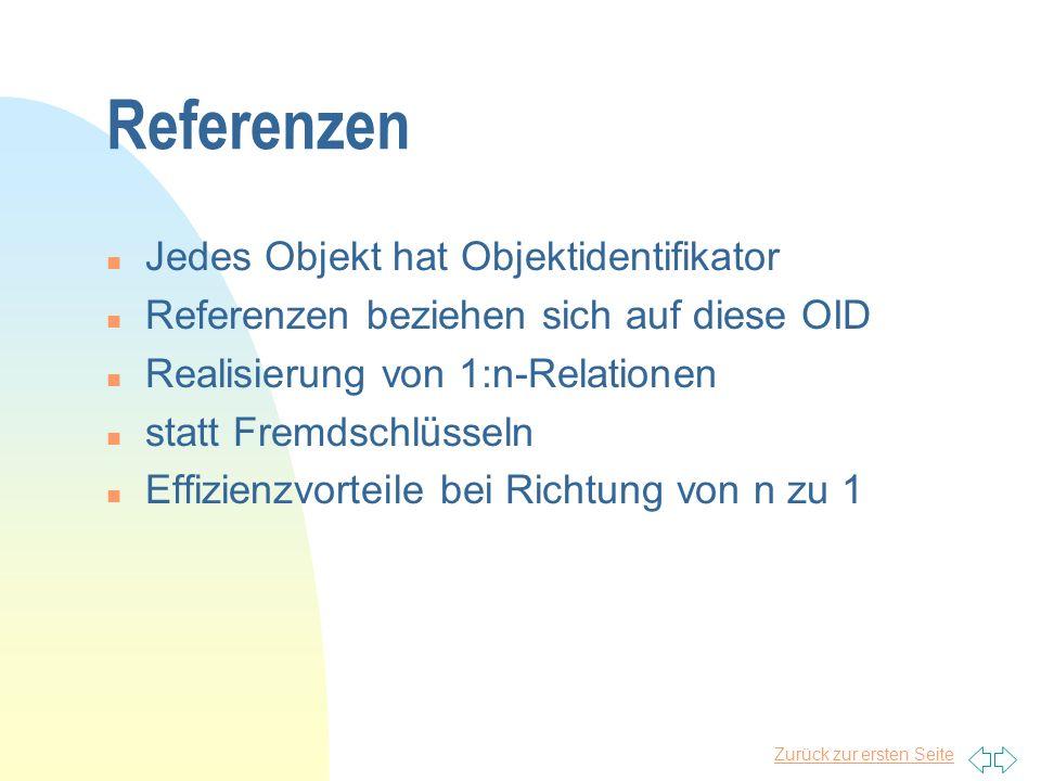 Zurück zur ersten Seite Referenzen n Jedes Objekt hat Objektidentifikator n Referenzen beziehen sich auf diese OID n Realisierung von 1:n-Relationen n