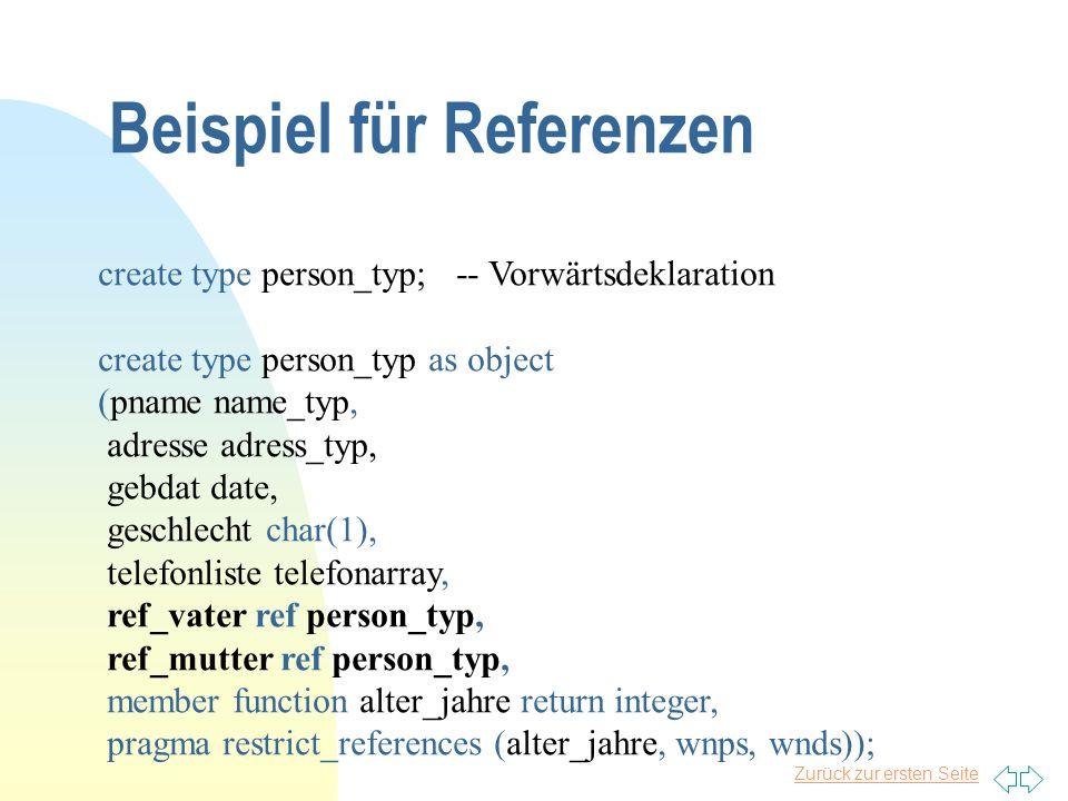 Zurück zur ersten Seite Beispiel für Referenzen create type person_typ; -- Vorwärtsdeklaration create type person_typ as object (pname name_typ, adres
