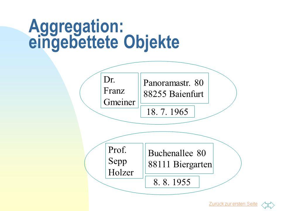Zurück zur ersten Seite Aggregation: eingebettete Objekte Dr. Franz Gmeiner Panoramastr. 80 88255 Baienfurt 18. 7. 1965 Prof. Sepp Holzer Buchenallee