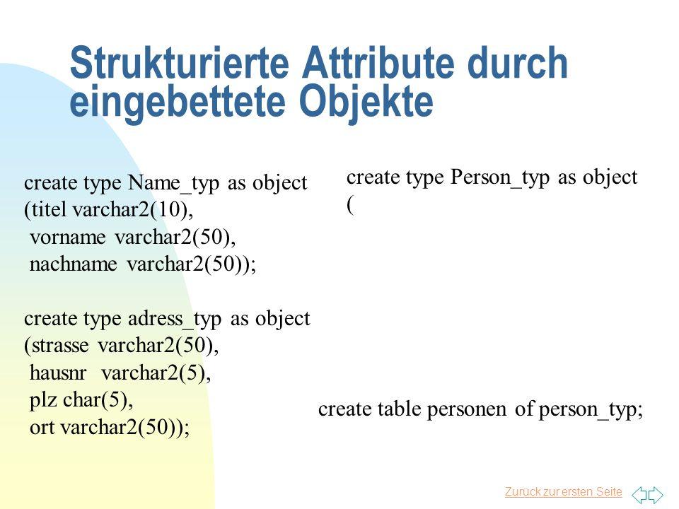 Zurück zur ersten Seite Strukturierte Attribute durch eingebettete Objekte create type Name_typ as object (titel varchar2(10), vorname varchar2(50), n