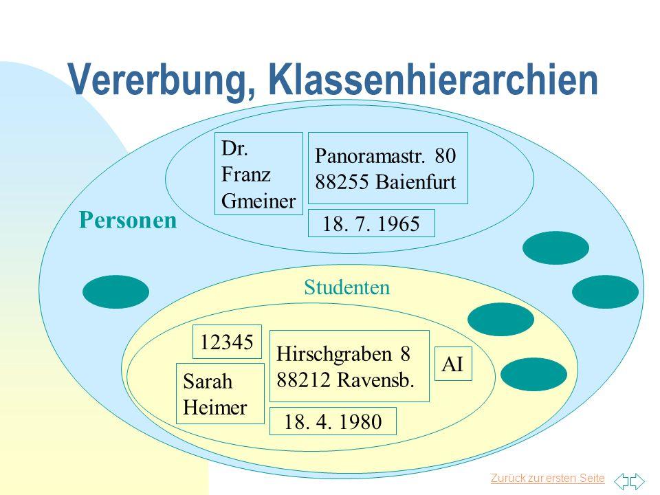 Zurück zur ersten Seite Vererbung, Klassenhierarchien Personen Dr. Franz Gmeiner Panoramastr. 80 88255 Baienfurt 18. 7. 1965 Studenten Sarah Heimer Hi